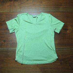 Silk Blend V neck Short sleeve T-Shirt L